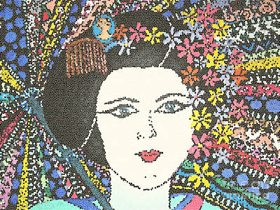 Geisha Girl Mosaic Poster