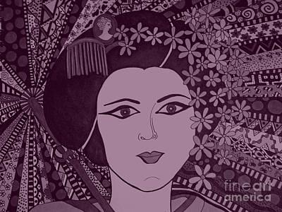 Geisha Girl Purple Poster