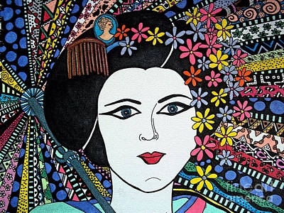 Geisha Girl Stained Glass Poster