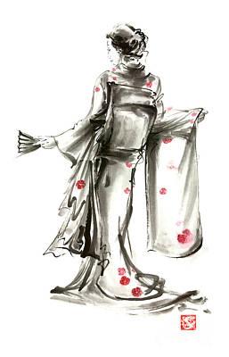 Geisha Japanese Woman Sumi-e Original Painting Art Print Poster by Mariusz Szmerdt