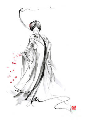 Geisha With Cherry Blossom Flower Poster