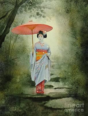 Geisha With Umbrella Poster by Robert Hooper