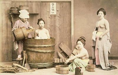 Geishas Bathing Poster