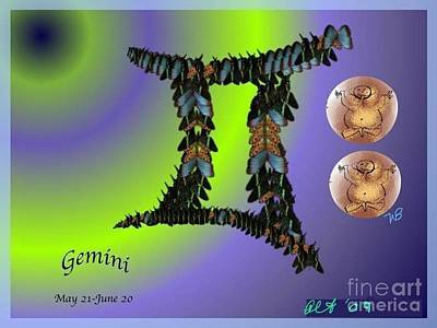 Poster featuring the digital art Gemini by The Art of Alice Terrill