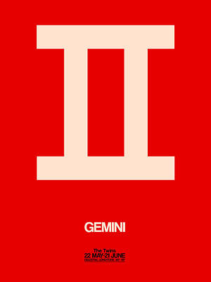 Gemini Zodiac Sign White On Red Poster by Naxart Studio