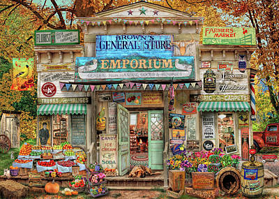 Poster featuring the drawing General Store by Aimee Stewart