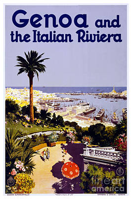 Genoa And The Italian Riviera - Travel Poster For Enit - 1931 Poster by Pablo Romero
