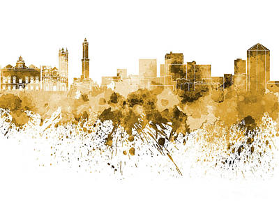 Genoa Skyline In Orange Watercolor On White Background Poster by Pablo Romero