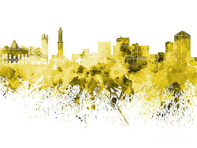 Genoa Skyline In Yellow Watercolor On White Background Poster by Pablo Romero