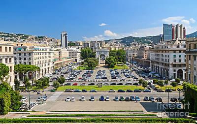 Genova - Piazza Della Vittoria Overview Poster by Antonio Scarpi