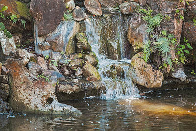 Poster featuring the photograph Gentle Waterfall With Sunbeam by David Coblitz