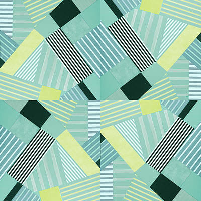 Geo Stripes In Pale Teal Poster