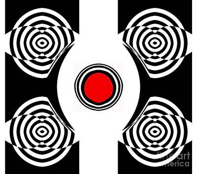 Geometric Abstract Black White Red Art No.400 Poster by Drinka Mercep
