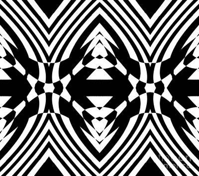 Geometric Op Art Black White No.218. Poster