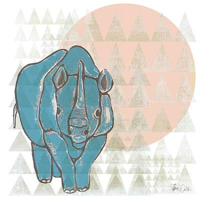Geometric Rhino Poster by Shanni Welsh