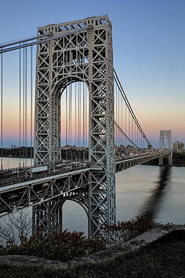 George Washington Bridge Aproaching Dusk Poster by Susan Candelario