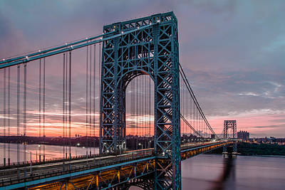 George Washington Bridge At Twilight Poster by Eduard Moldoveanu