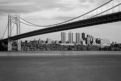 George Washington Bridge In Autumn Bw Poster