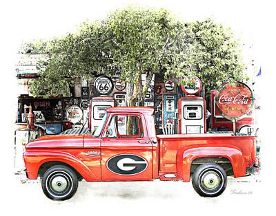 Georgia Bulldogs Vintage Fan Art Print Poster by Dwayne  Graham