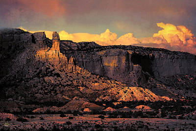 Georgia O Keefes Ghost Ranch House - Last Moments Of Sun Poster by Douglas MooreZart