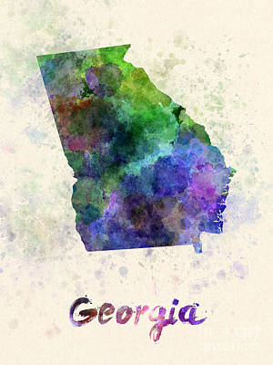 Georgia Us State In Watercolor Poster by Pablo Romero
