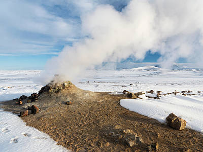 Geothermal Area Hverarond With Mudpots Poster