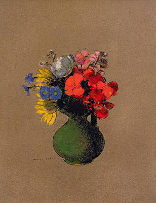 Geraniums And Flowers Of The Field Poster by Odilon Redon