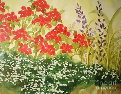 Geraniums And Friends Poster