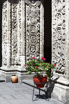 Geraniums And Stone Carvings Poster by James Brunker