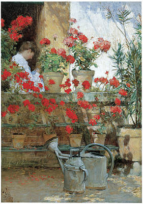 Geraniums Poster by Childe Hassam