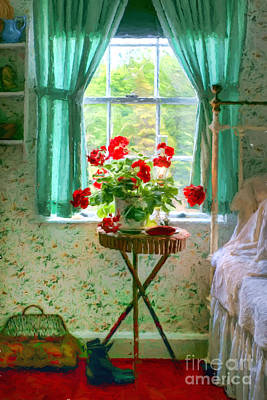 Geraniums In The Bedroom Poster by Nikolyn McDonald