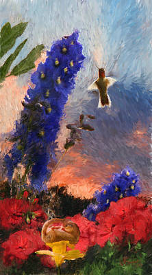 Geraniums Red And Delphiniums Blue Poster