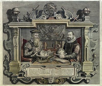 Gerard Mercator And Jodocus Hondius Poster by Museum Of The History Of Science/oxford University Images