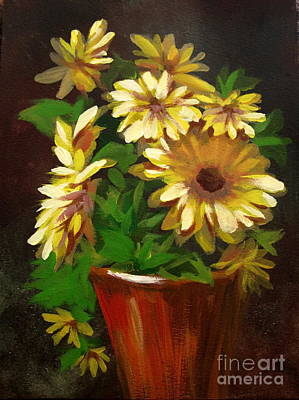 Poster featuring the painting Gerber Daisies 3 by Carol Hart
