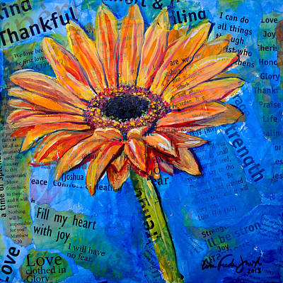 Poster featuring the painting Gerbera Daisy Love by Lisa Fiedler Jaworski