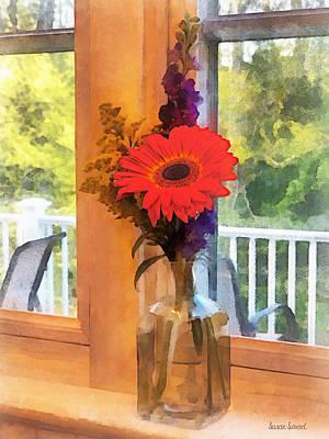 Gerbera Daisy By Kitchen Window Poster