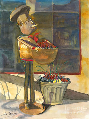 Poster featuring the painting Gere-a-delis Brass Chef by Sandy Linden