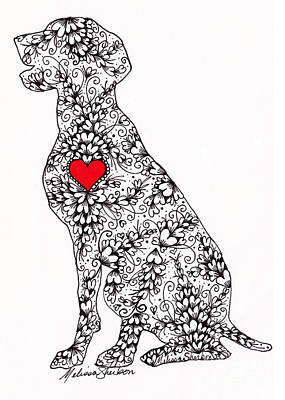 Poster featuring the drawing German Pointer by Melissa Sherbon