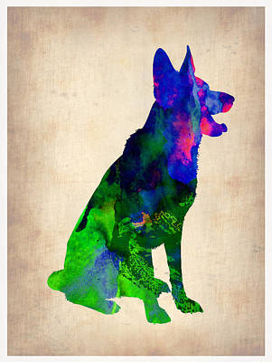 German Sheppard Watercolor Poster by Naxart Studio