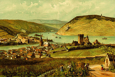 German Wine Country Rhine River Valley Poster by Private Collection
