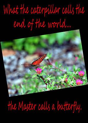 Get Well Caterpillar Greeting Card Red Font Vertical Poster