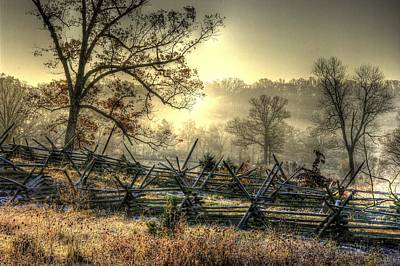 Poster featuring the photograph Gettysburg At Rest - Sunrise Over Northern Portion Of Little Round Top by Michael Mazaika