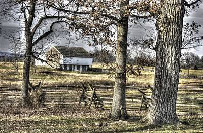 Poster featuring the photograph Gettysburg At Rest - Winter Muted Edward Mc Pherson Farm by Michael Mazaika