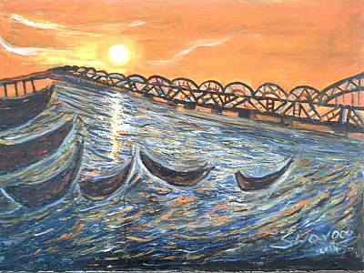 Godavari River And Bridge Poster by Anand Swaroop Manchiraju