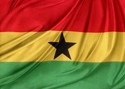 Ghana Flag Poster by Les Cunliffe
