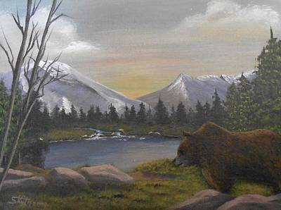 Poster featuring the painting Ghost Bear-the Cascade Grizzly by Sheri Keith