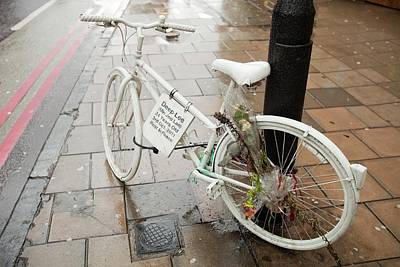 Ghost Bike Tribute To A Cyclist Poster