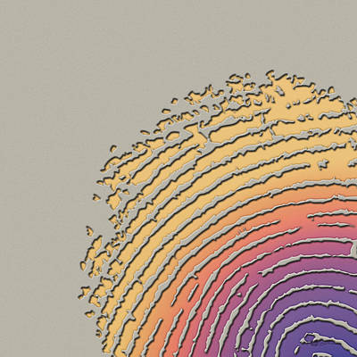 Giant Iridescent Fingerprint On Clay Beige Set Of 4 - 1 Of 4 Poster