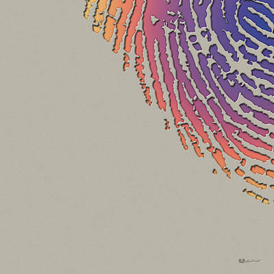 Giant Iridescent Fingerprint On Clay Beige Set Of 4 - 3 Of 4 Poster
