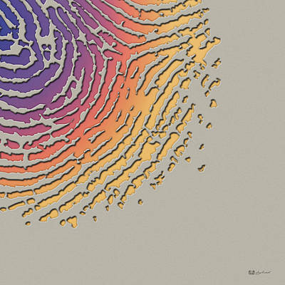Giant Iridescent Fingerprint On Clay Beige Set Of 4 - 4 Of 4 Poster